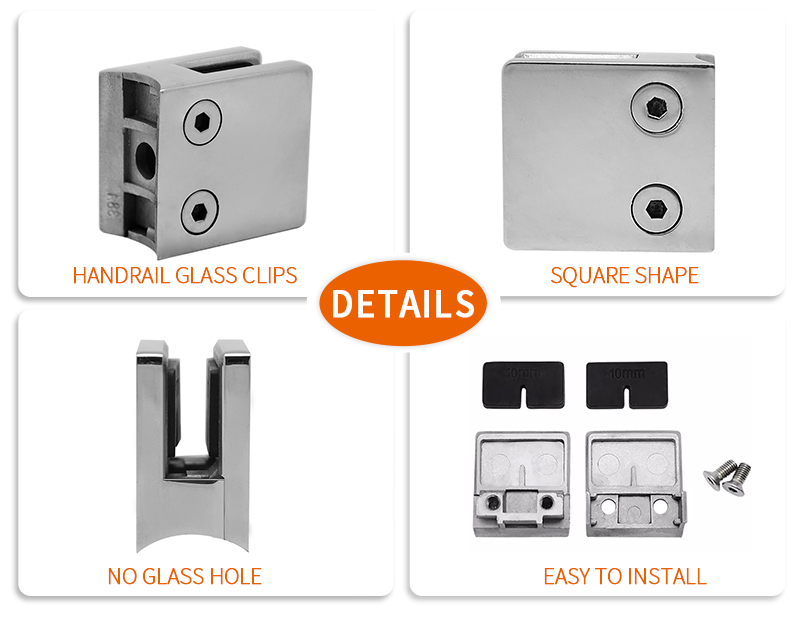 product-Square Stainless Steel Handrail Glass Clips GC-016R-JY-img