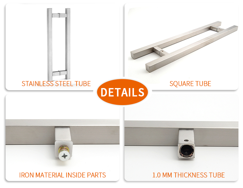 product-Square Tube H Ladder Glass Door Pulls Handles GDH-02S-JY-img