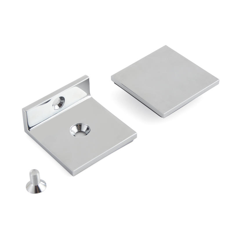 Short Plate Solid Brass Shower Door Glass Clips GC-7-90BL