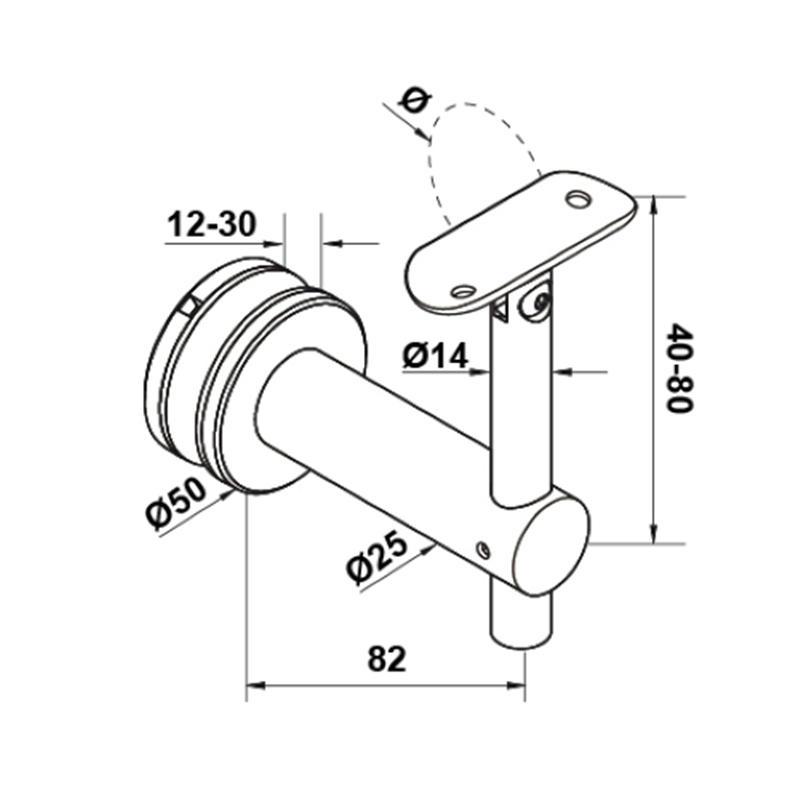 HANDRAIL TUBE BRACKET GLASS WALL ADJUST HEIGHT HA-01