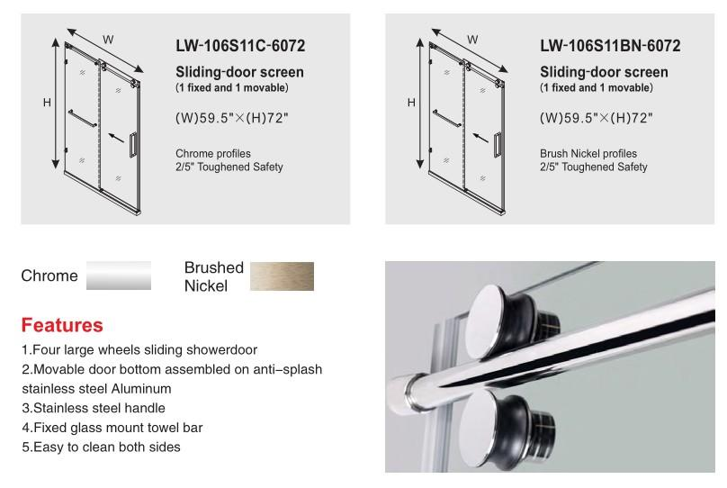 Whole Set Frameless Sliding Door Accessories with Tempered Glass 106S11