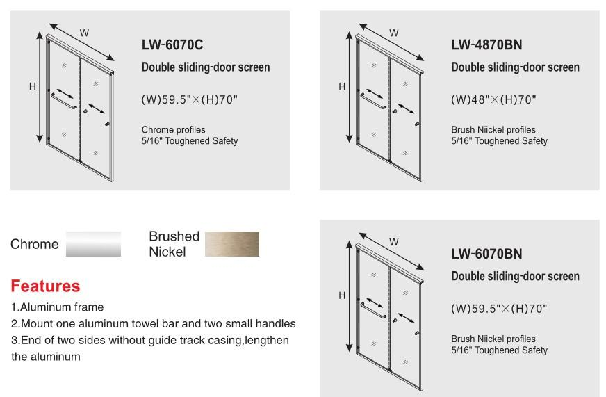 Frame Sliding Door Accessories with Tempered Glass