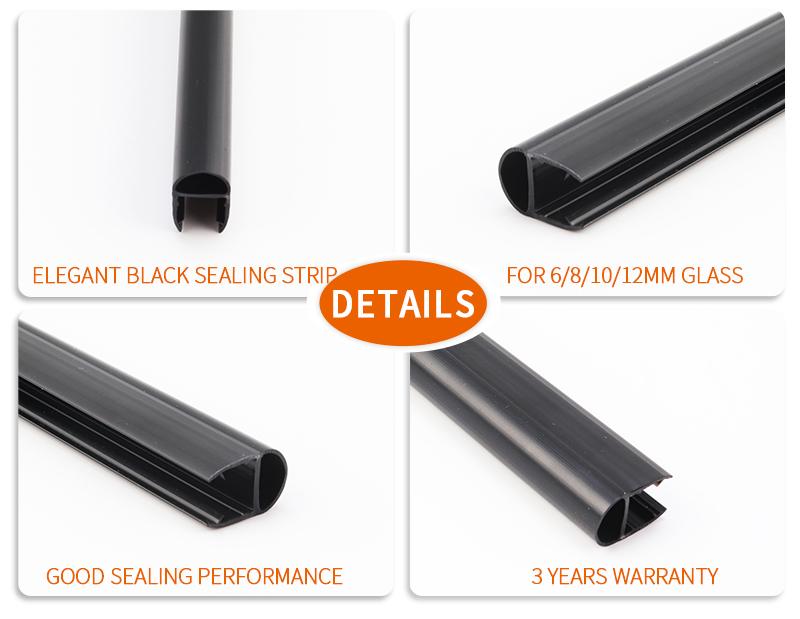product-Polished Black U Shape Glass Shower Door Waterproof Sealing Strip-JY-img