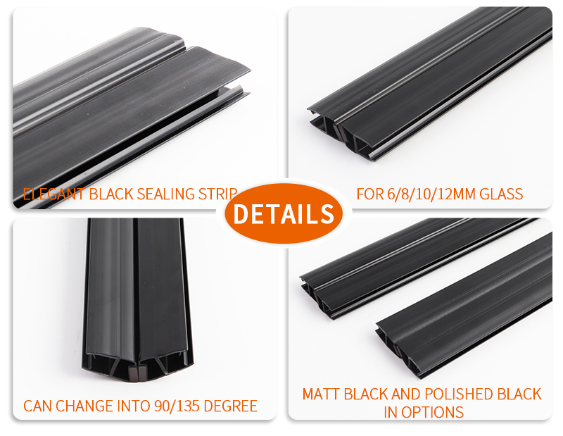 product-180 Degree Glass to Glass Shower Door Seal with Magnetic Polished Black-JY-img