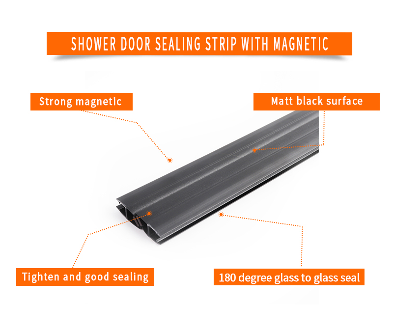 product-90 Degree Matt Black Shower Door Sealing Strips with Magnetic-JY-img