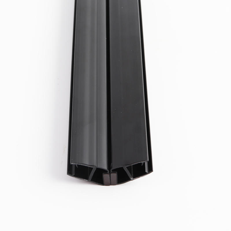 135 degree Polished Black Glass to Glass Door Seal with Magnetic
